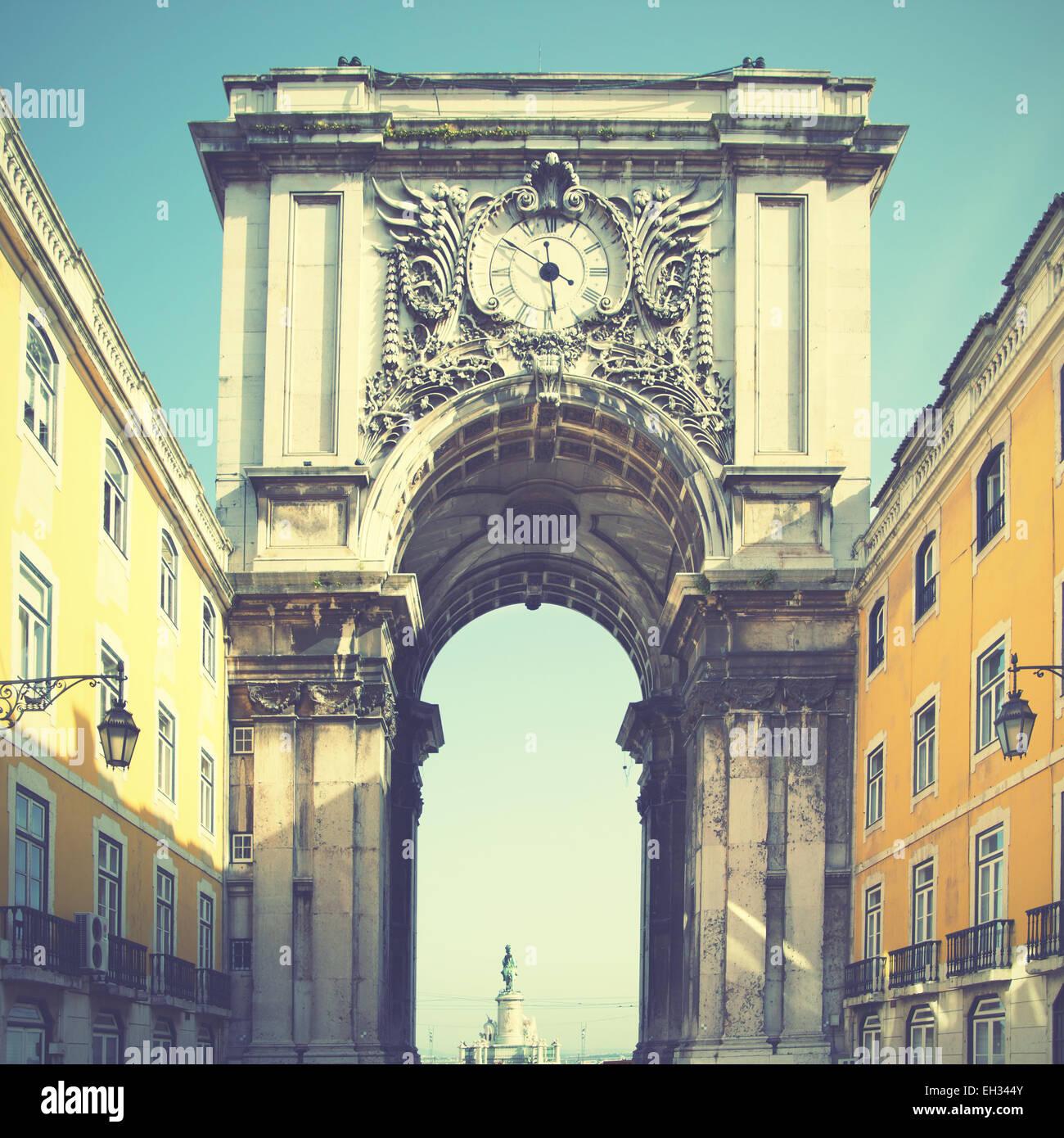 Rua Augusta arch in Lisbon, Portugal. Retro style filtred image - Stock Image