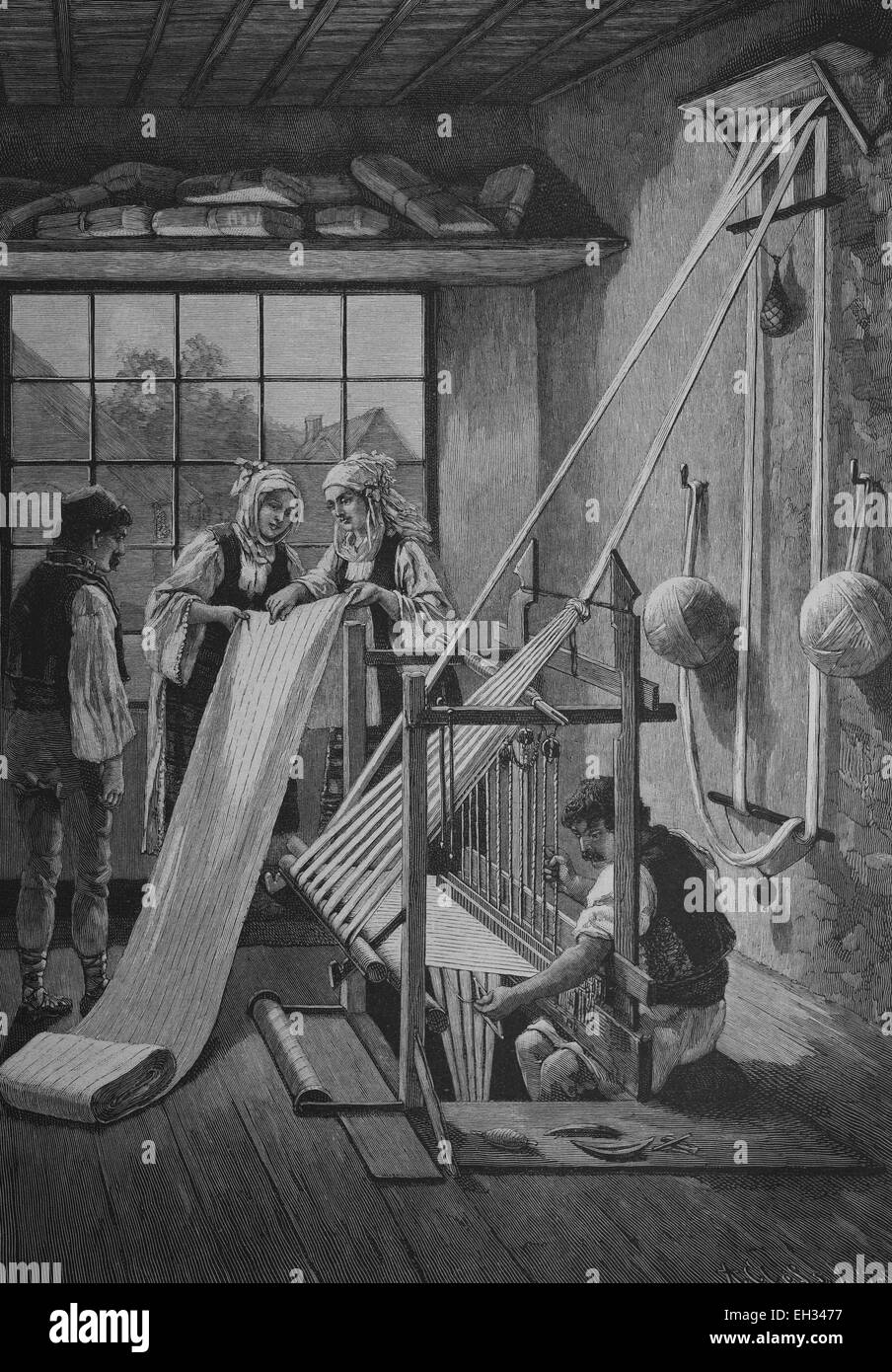 Historical engraving, loom for weaving cotton, Serbia, 1888, Europe - Stock Image