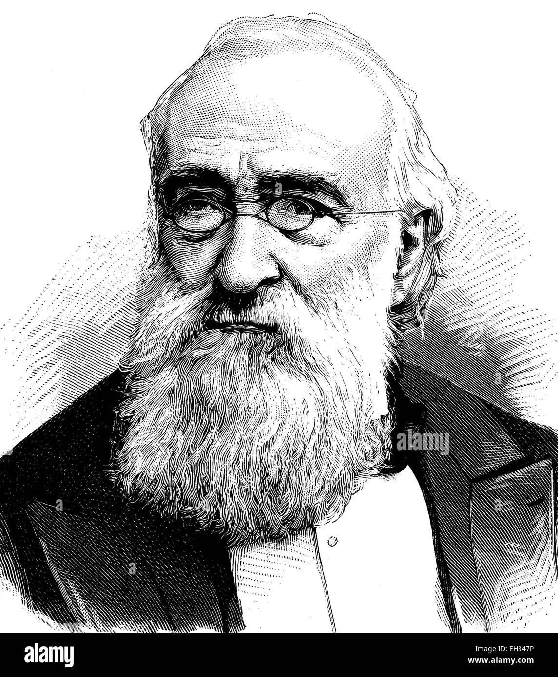 Agostino Depretis, 1813 - 1887, Italian statesman, woodcut 1888 - Stock Image