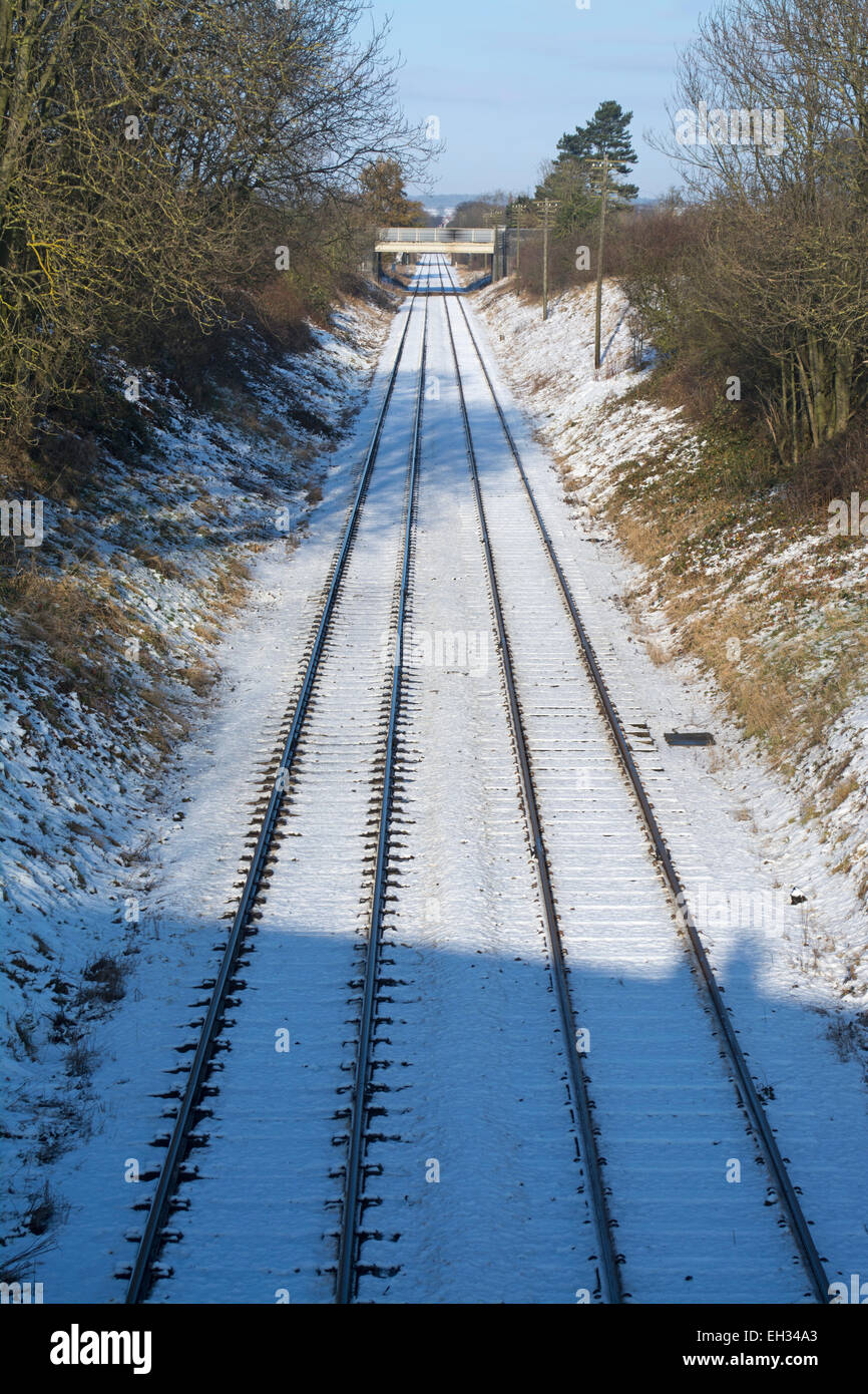 Snow cover tracks of the Great Central Railway in Loughborough, Leicestershire, UK - Stock Image