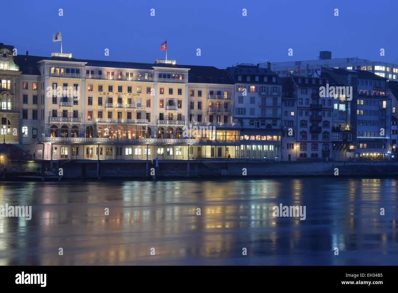 Rhein view close to  Middle Bridge in Basel, Switzerland - Stock Image