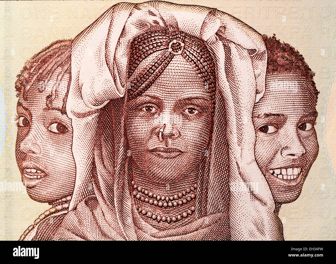 Children from 1 nakfa banknote, Eritrea, 1997 - Stock Image