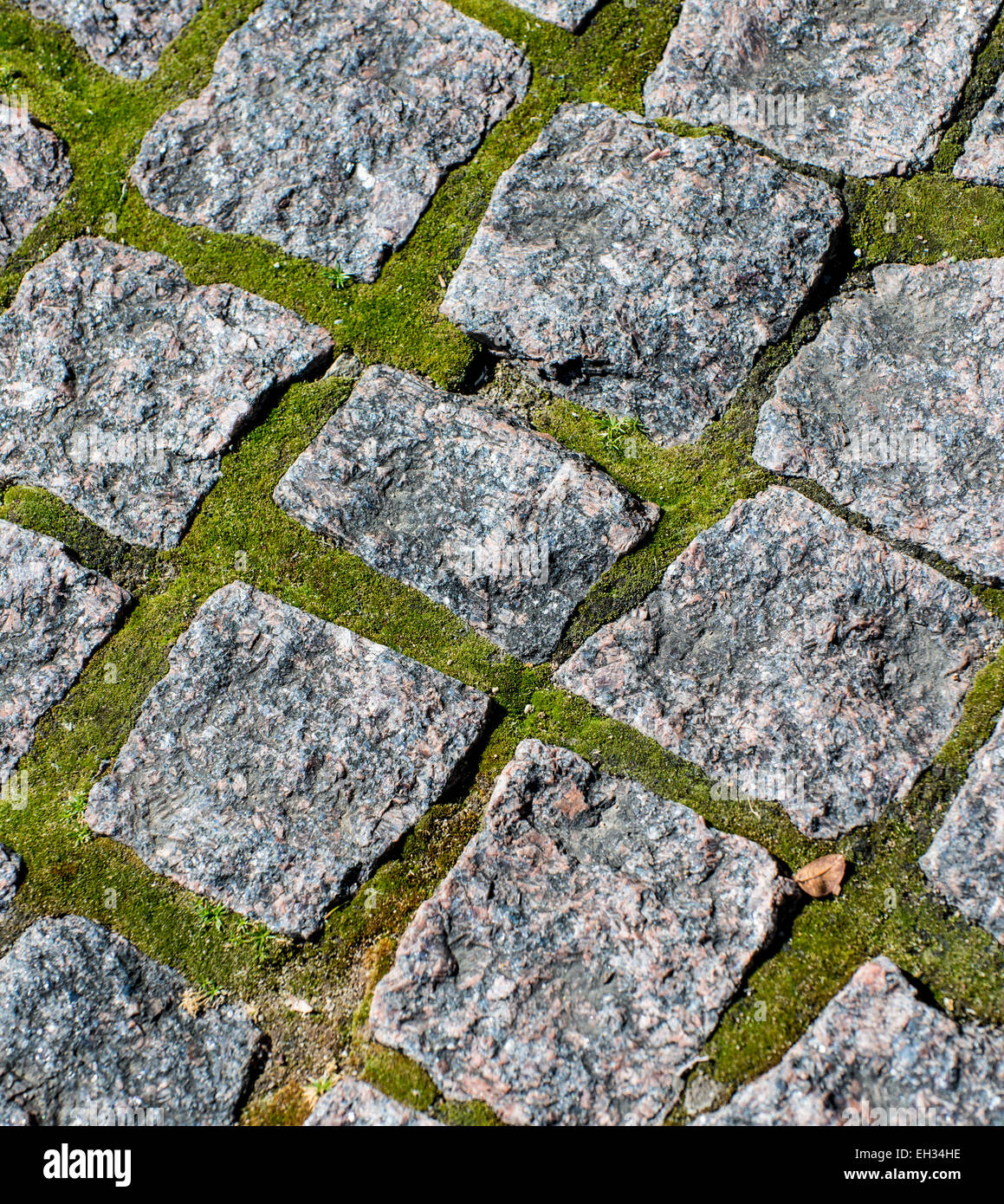 Close-up of permeable pavement in a public plaza - Stock Image