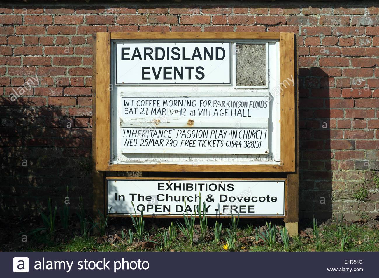 Events noticeboard in the village of Eardisland, in Herefordshire, UK. - Stock Image