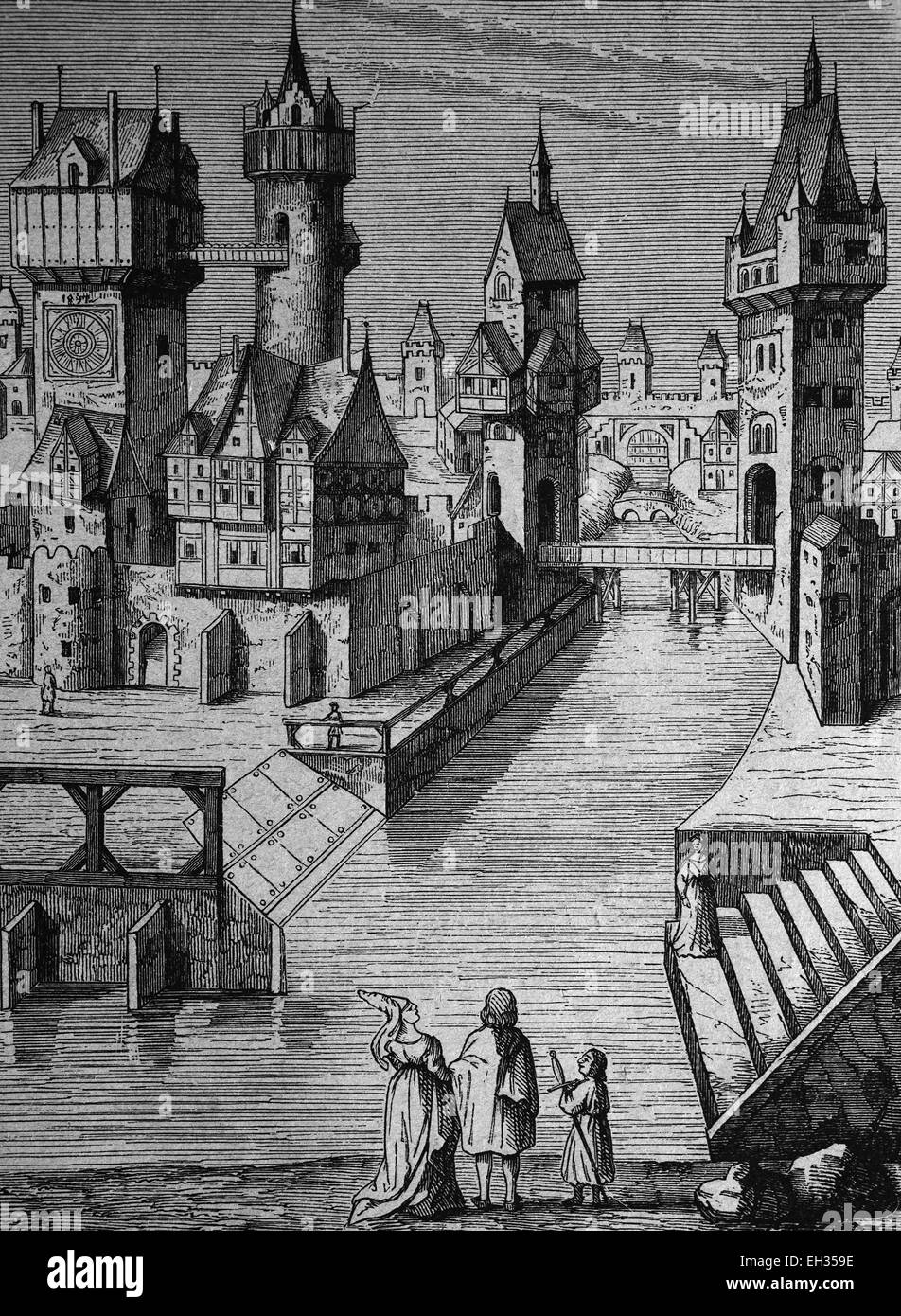 Ideal image of a city in the 14th century, woodcut 1888 - Stock Image