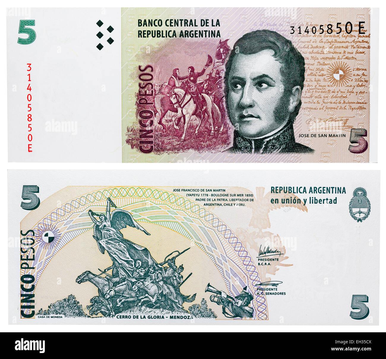 5 pesos banknote, Jose de San Martin, Argentina, 2003 - Stock Image