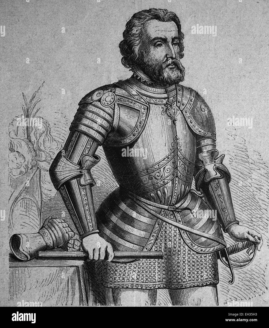 Ferdinand Cortez, explorer of Mexico and conqueror of New Spain, woodcut 1888 - Stock Image
