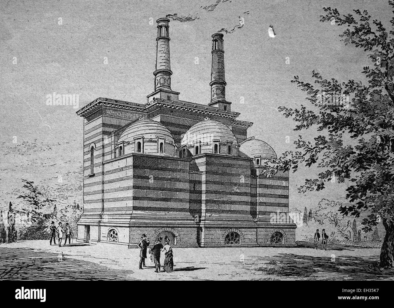 Cremation apparatus on the Pere-Lachaise cemetery, Paris, France, woodcut, historical engraving, 1880, Europe - Stock Image
