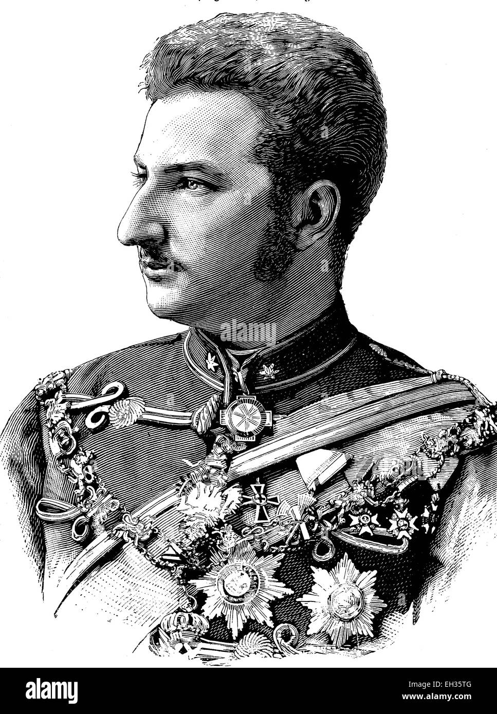 Ferdinand I, 1861-1948, Prince and King of Bulgaria, of Saxe-Coburg-Koh?ry dynasty, House of Wettin, woodcut, historical - Stock Image