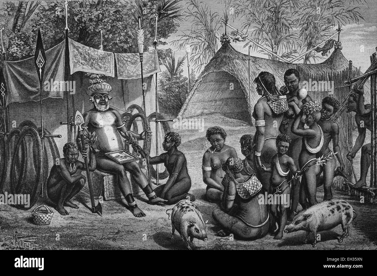 Funeral in New Britain, part of Melanesia, belongs politically to Papua New Guinea, woodcut, historical engraving, - Stock Image