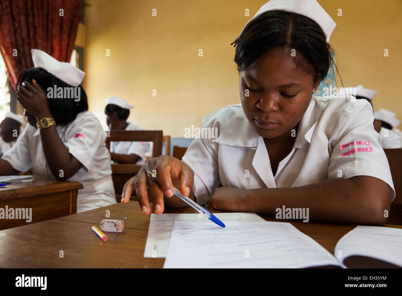 Bamenda, Cameroon, July 2013: Student nurses sit their exams. - Stock Image