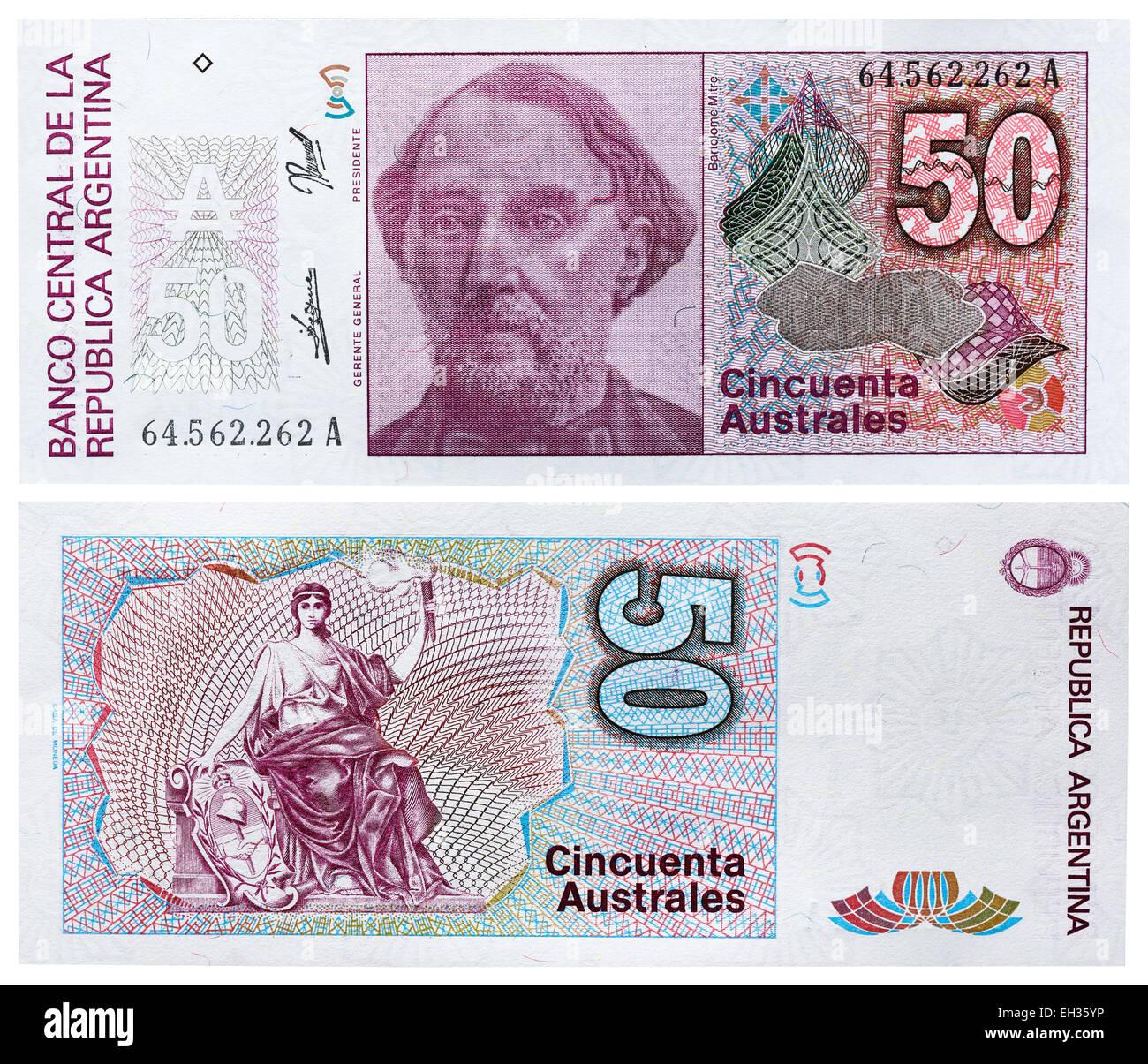 50 australes banknote, Bartolome Mitre, Argentina, 1986 - Stock Image