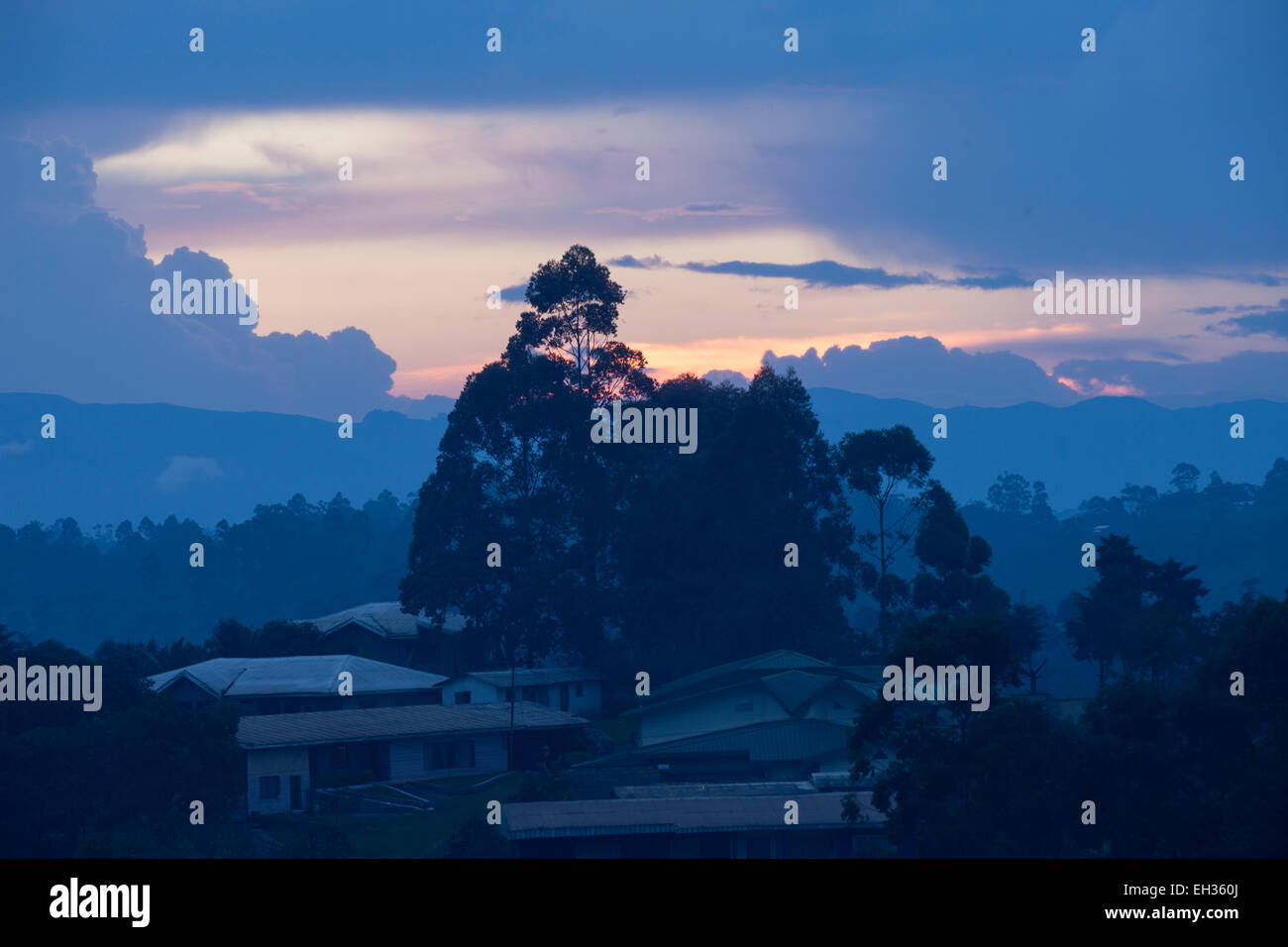 Bamenda, Cameroon, July 2013: Sunset during the rainy season. - Stock Image