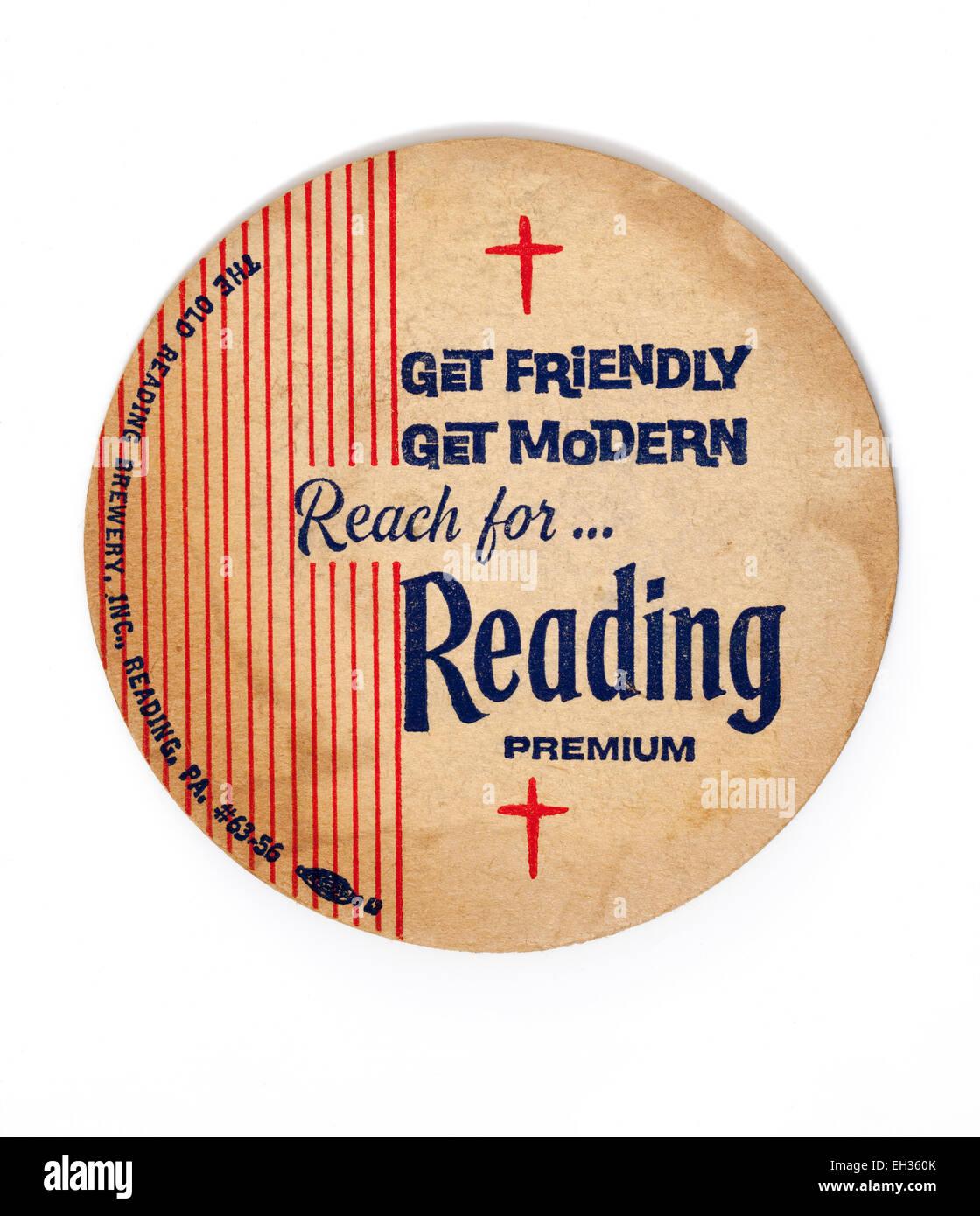 Vintage British Beermat Advertising Reading Beers - Stock Image