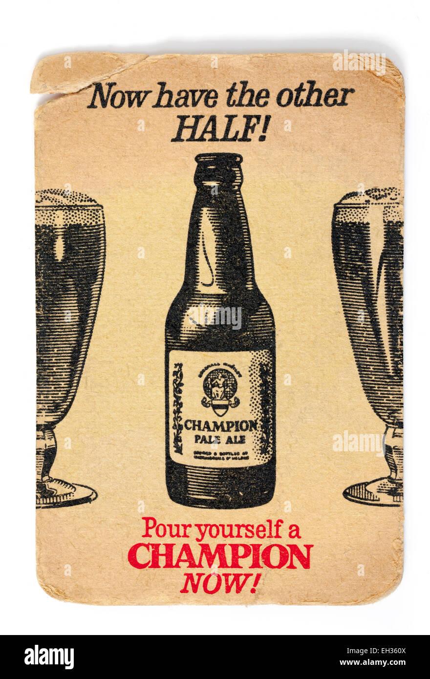 Vintage British Beermat Advertising Champion Pale Ale Beer - Stock Image