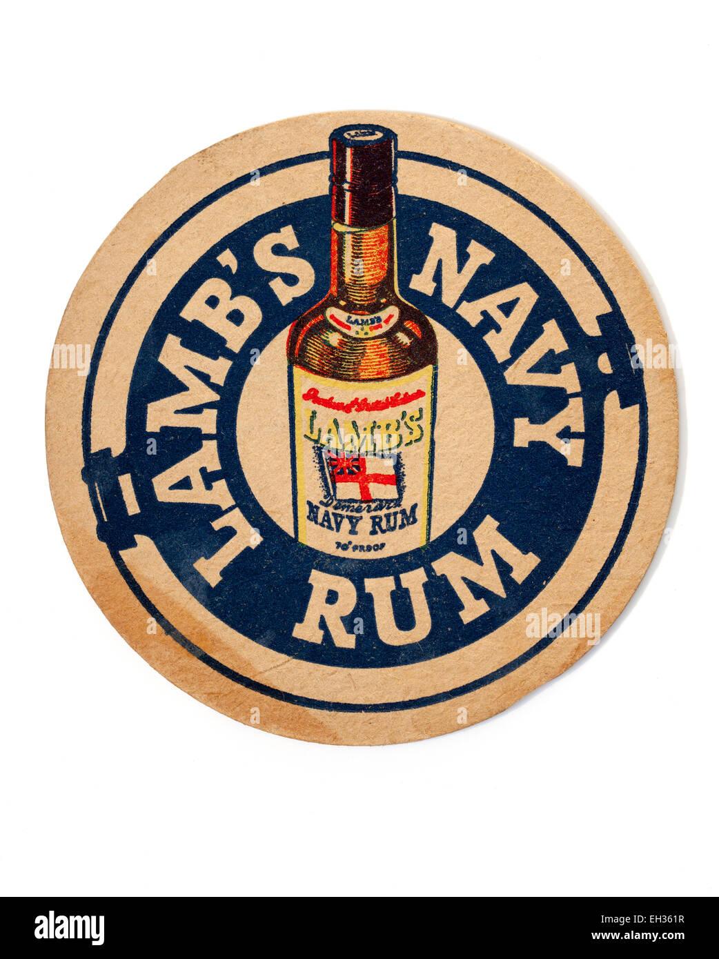 Vintage Beermat Advertising Lambs Navy Rum Stock Photo