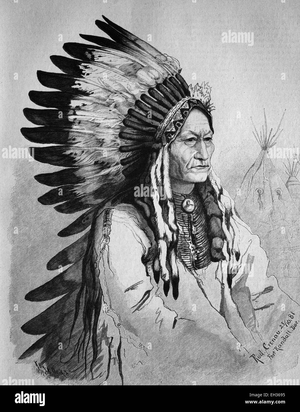 Sitting Bull, 1831-1890, one of the leaders during the last liberation movement of the Native Americans 1866-1876, - Stock Image