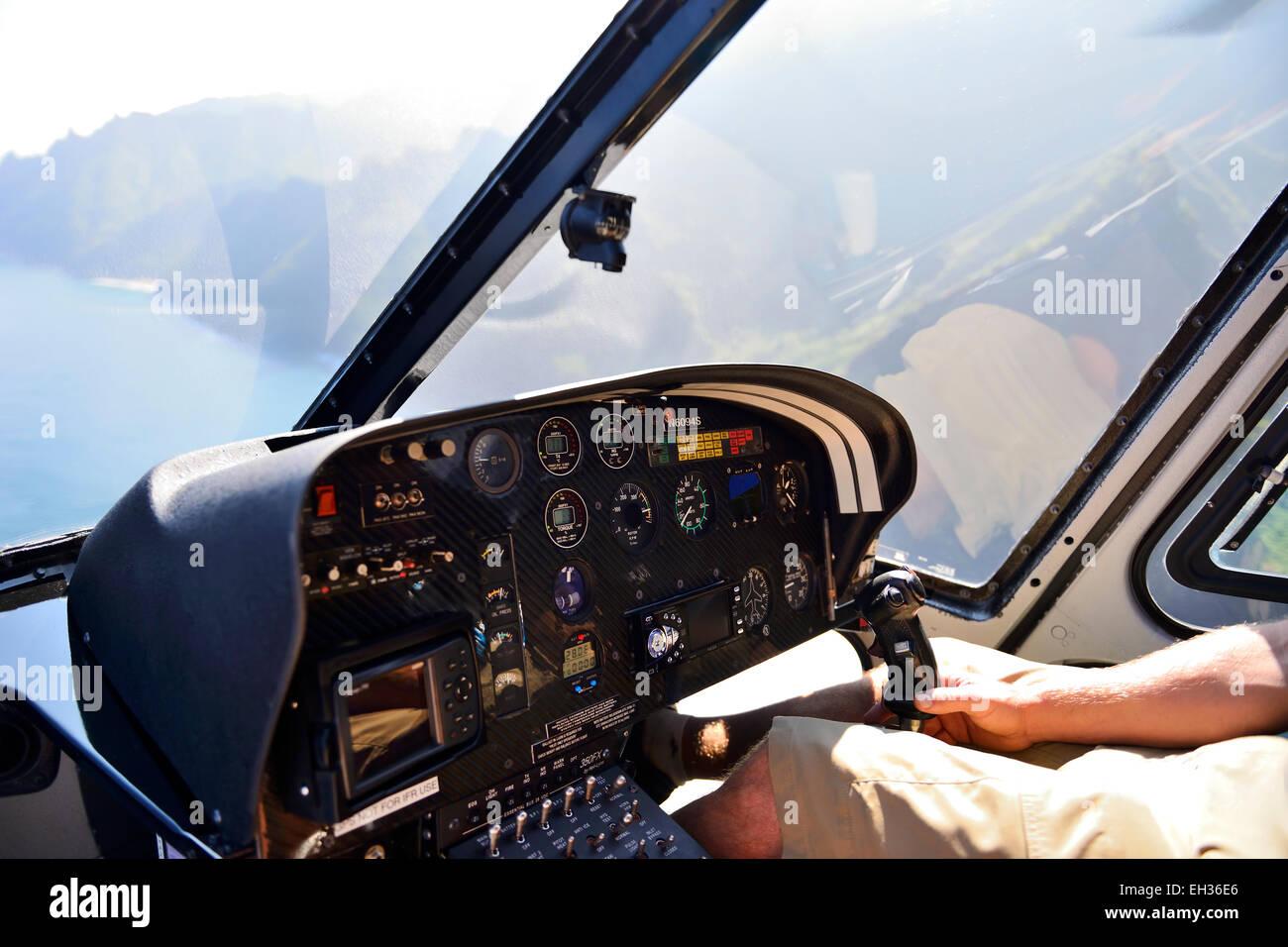 View From Inside Helicopter Flying Along Na Pali Coast Kauai Hawaii USA
