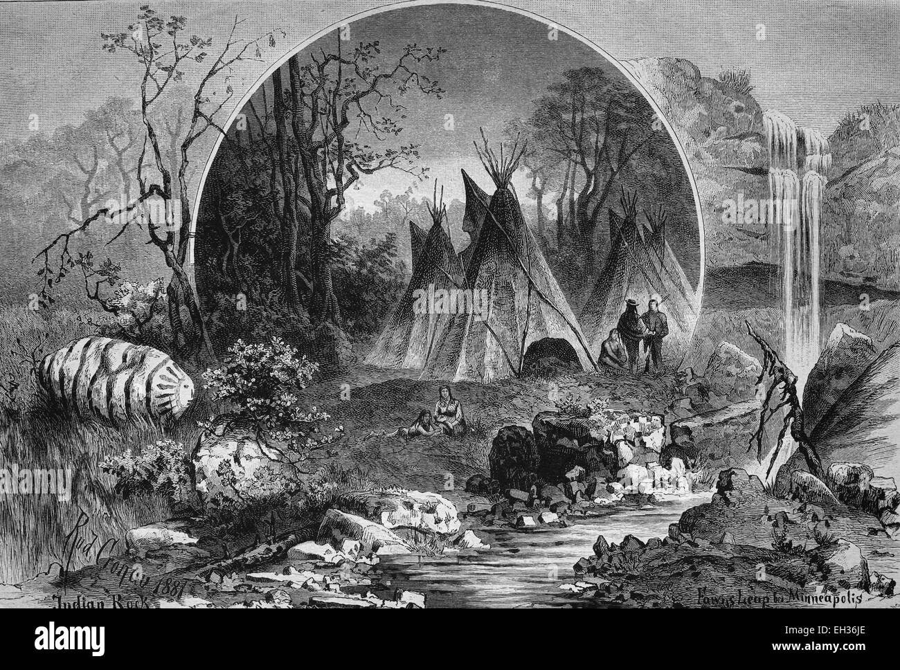 Camp of the Sioux, Native Americans in Minnesota, wood engraving, 1880 - Stock Image