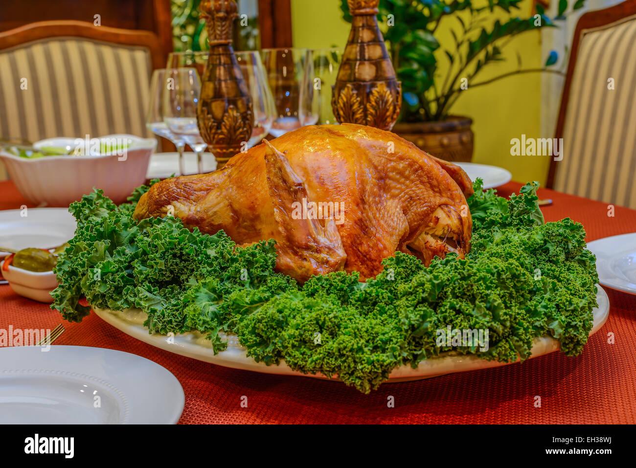 Roasted Turkey On A Platter With Fresh Salad Decoration Stock Photo