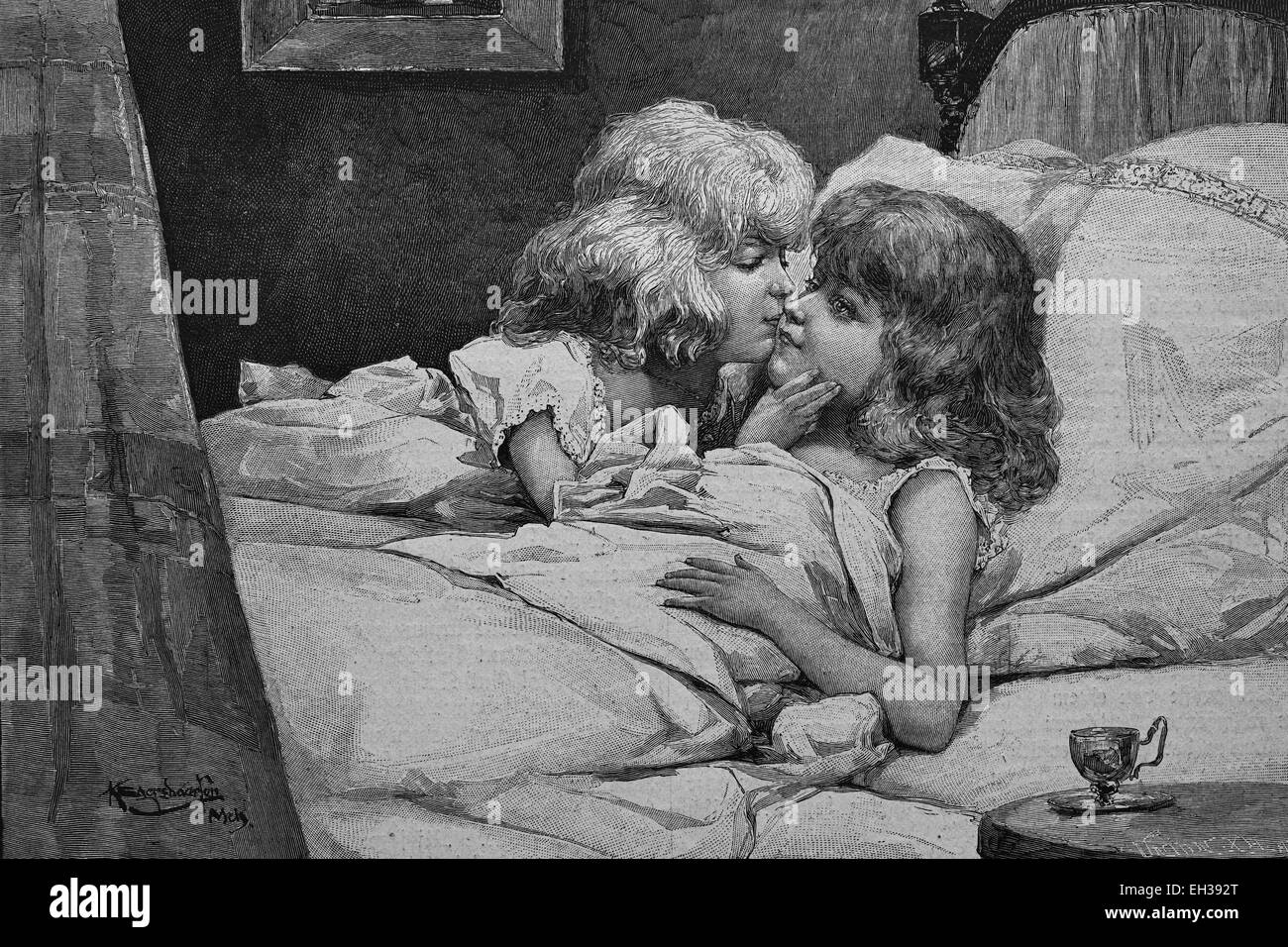 Girl Getting A Good Night Kiss From Her Sister Woodcut 1888 Stock