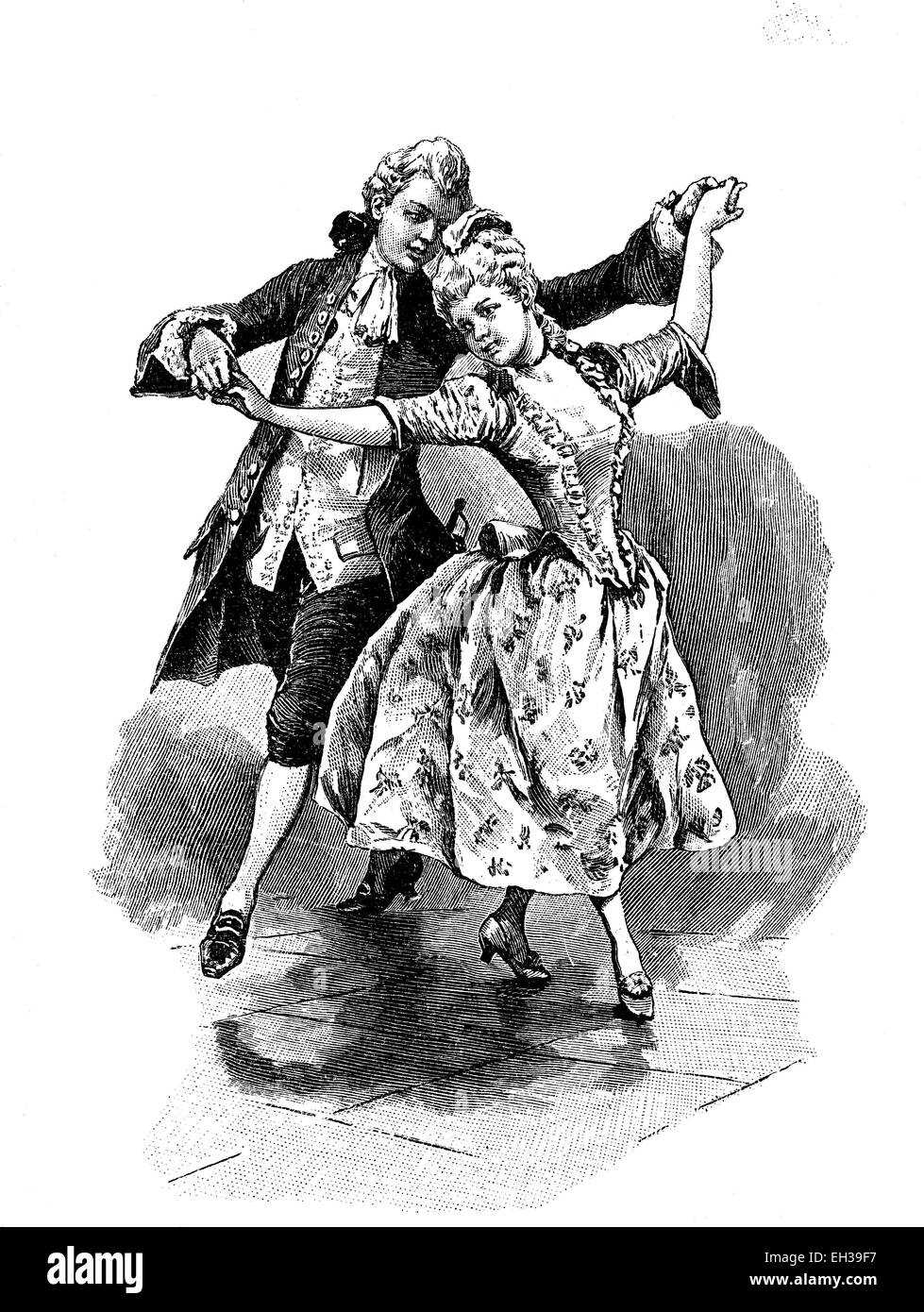 Allemande, a processional dance, woodcut, 1888 - Stock Image