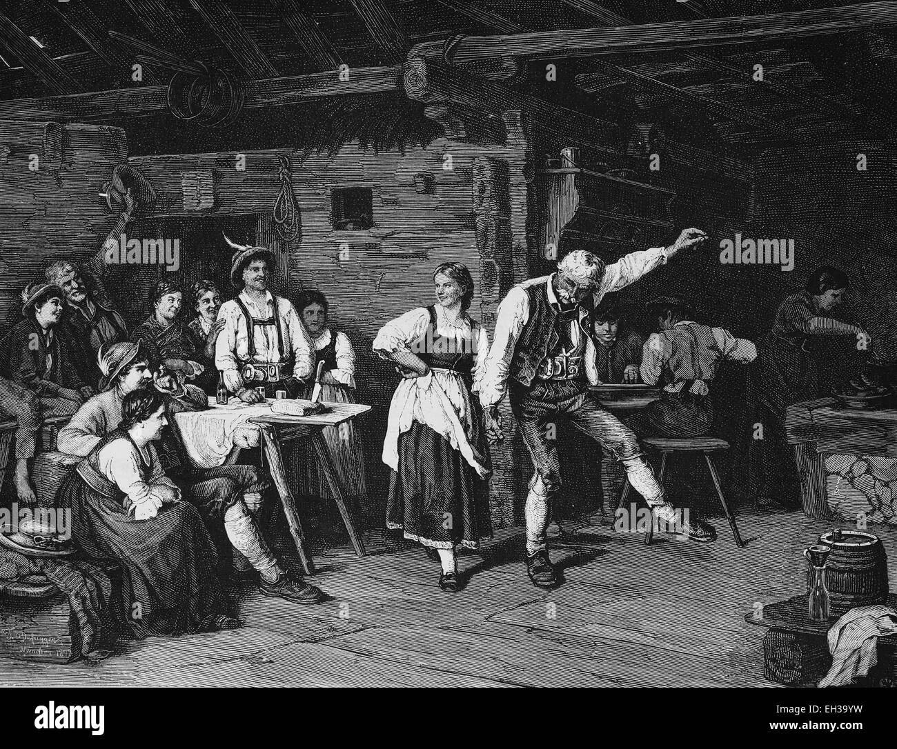 Dance at the mountain hut in the evening, wood engraving, c 1880 - Stock Image