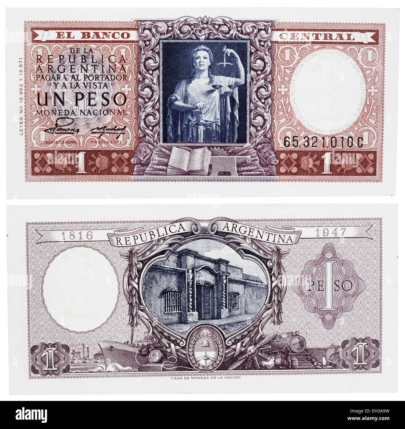 1 peso banknote, Justice, Argentina, 1947 - Stock Image