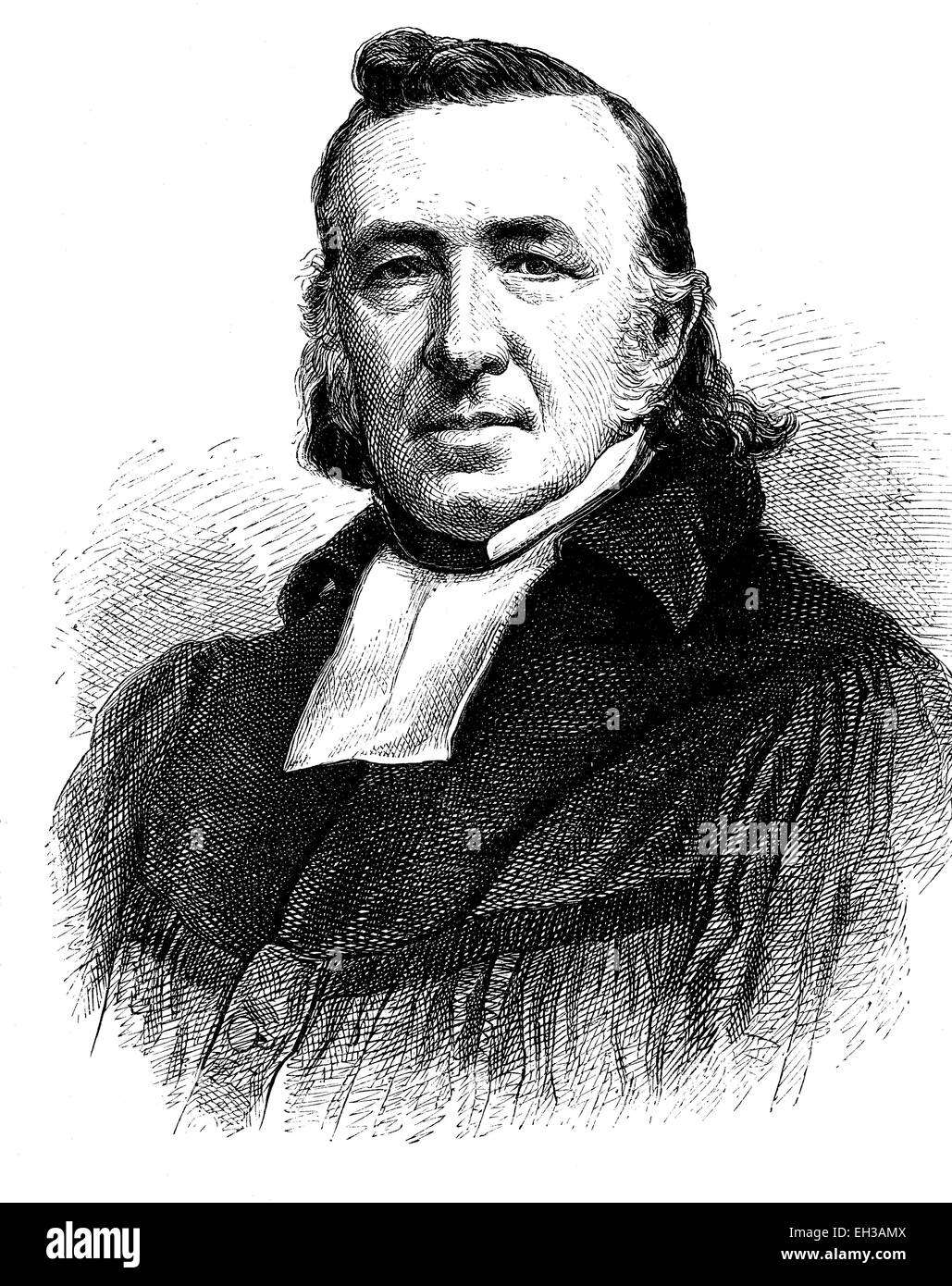 Leopold Adolf Karl Sydow, 1800 - 1882, Protestant theologian, wood engraving, 1880 - Stock Image