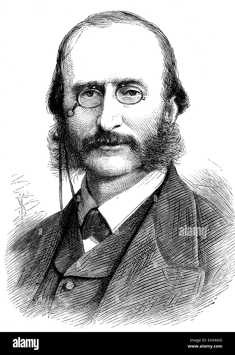 Jacques Offenbach, 1819 - 1880, born as Jakob Eberst, a French composer and cellist of German and Jewish descent, - Stock Image