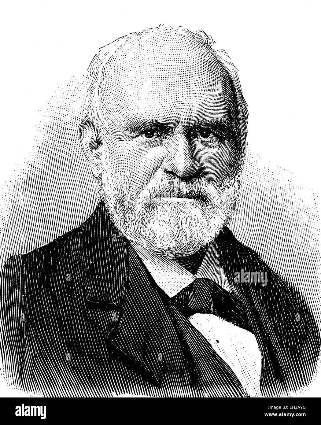 Johann Samuel Heinrich Kiepert, 1818 - 1899, German geographer and cartographer, wood engraving, 1880 - Stock Image