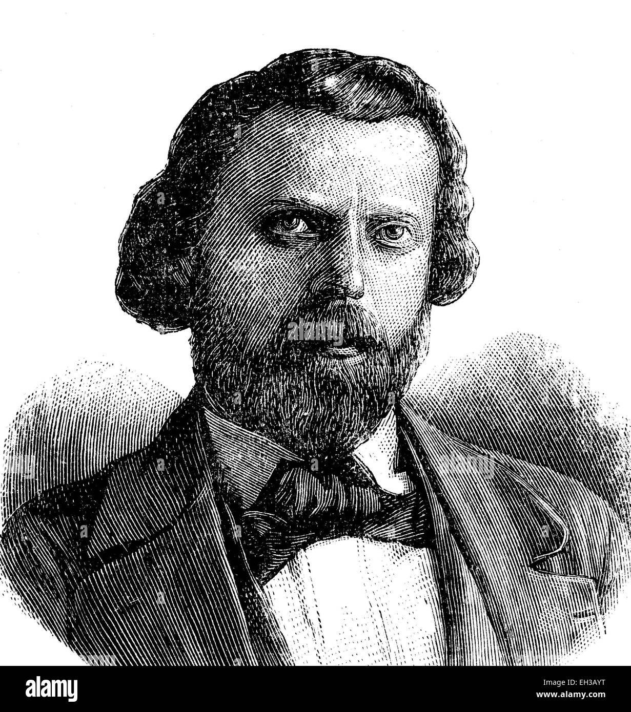 Karl Ludwig Pfau (1821-1894) was a german writer and journalist. - Stock Image