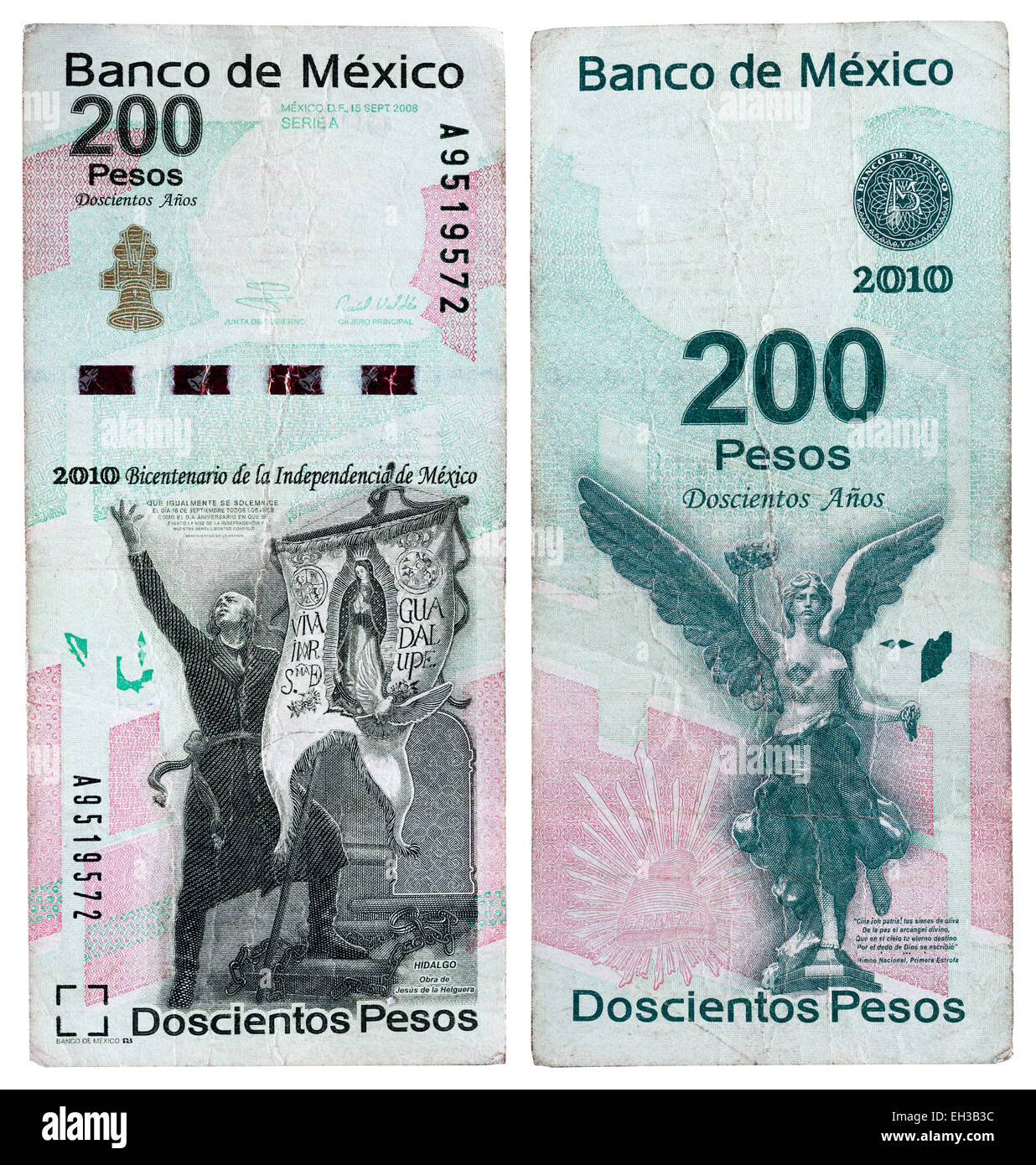 200 pesos banknote, Miguel Hidalgo and Statue of Angel of Independence, Mexico, 2010 - Stock Image