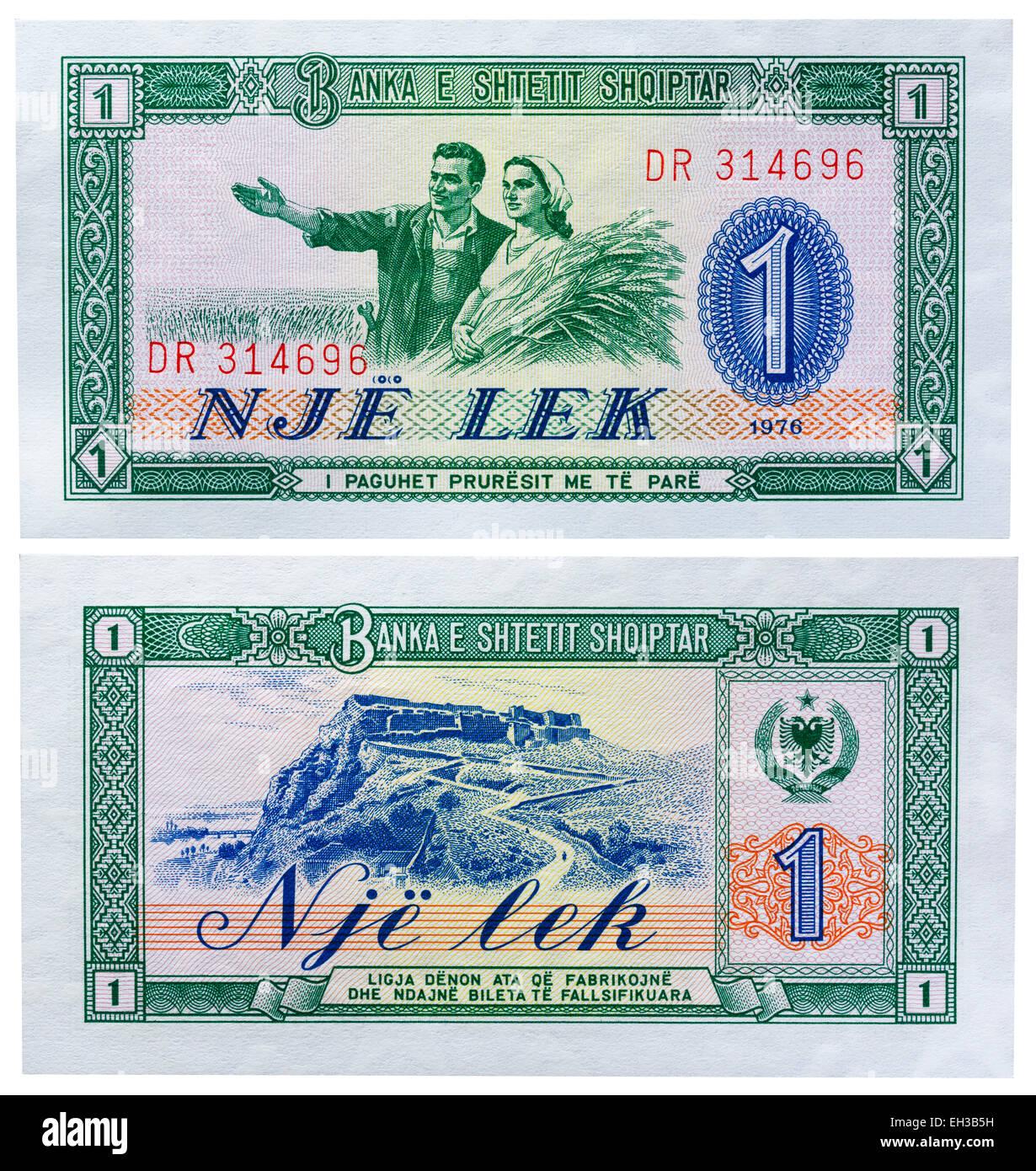 1 lek banknote, Peasant couple, Albania, 1964 - Stock Image