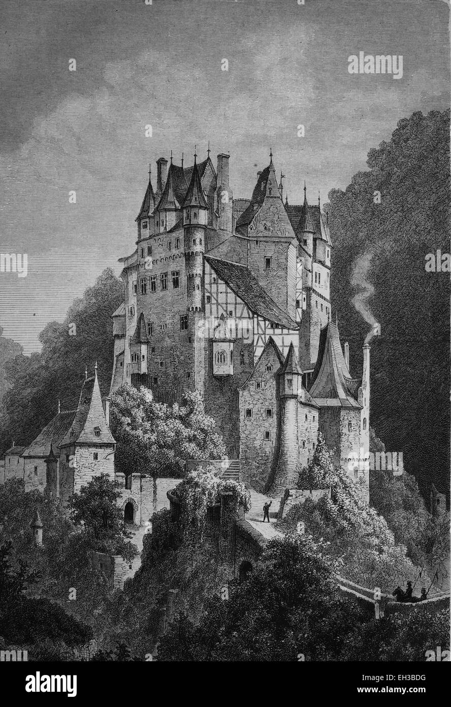 Burg Eltz Castle, Rhineland-Palatinate, Germany, historical book illustration from the 19th Century, steel engraving, - Stock Image
