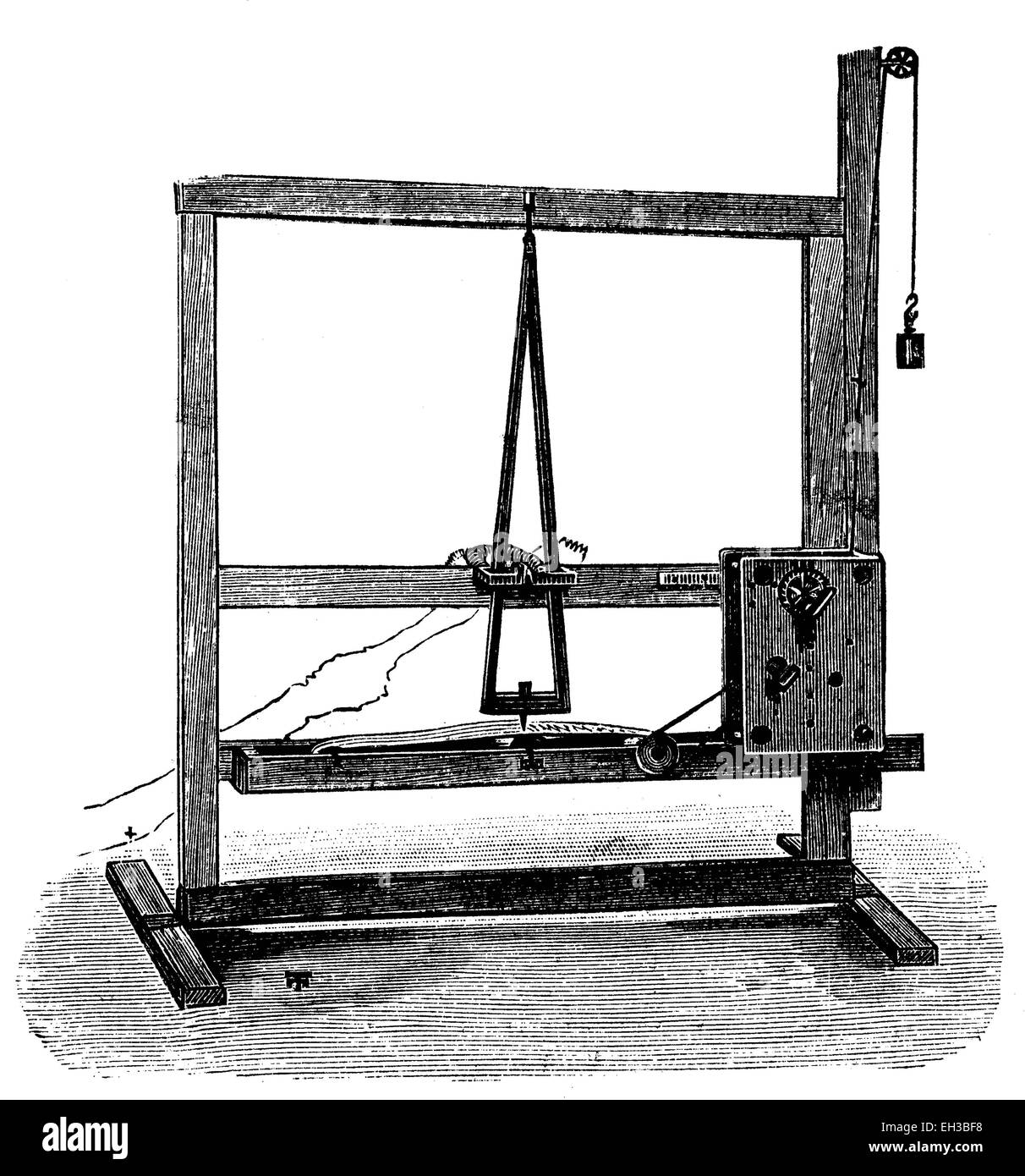 The first Morse telegraph of 1837, wood engraving, about 1880 - Stock Image