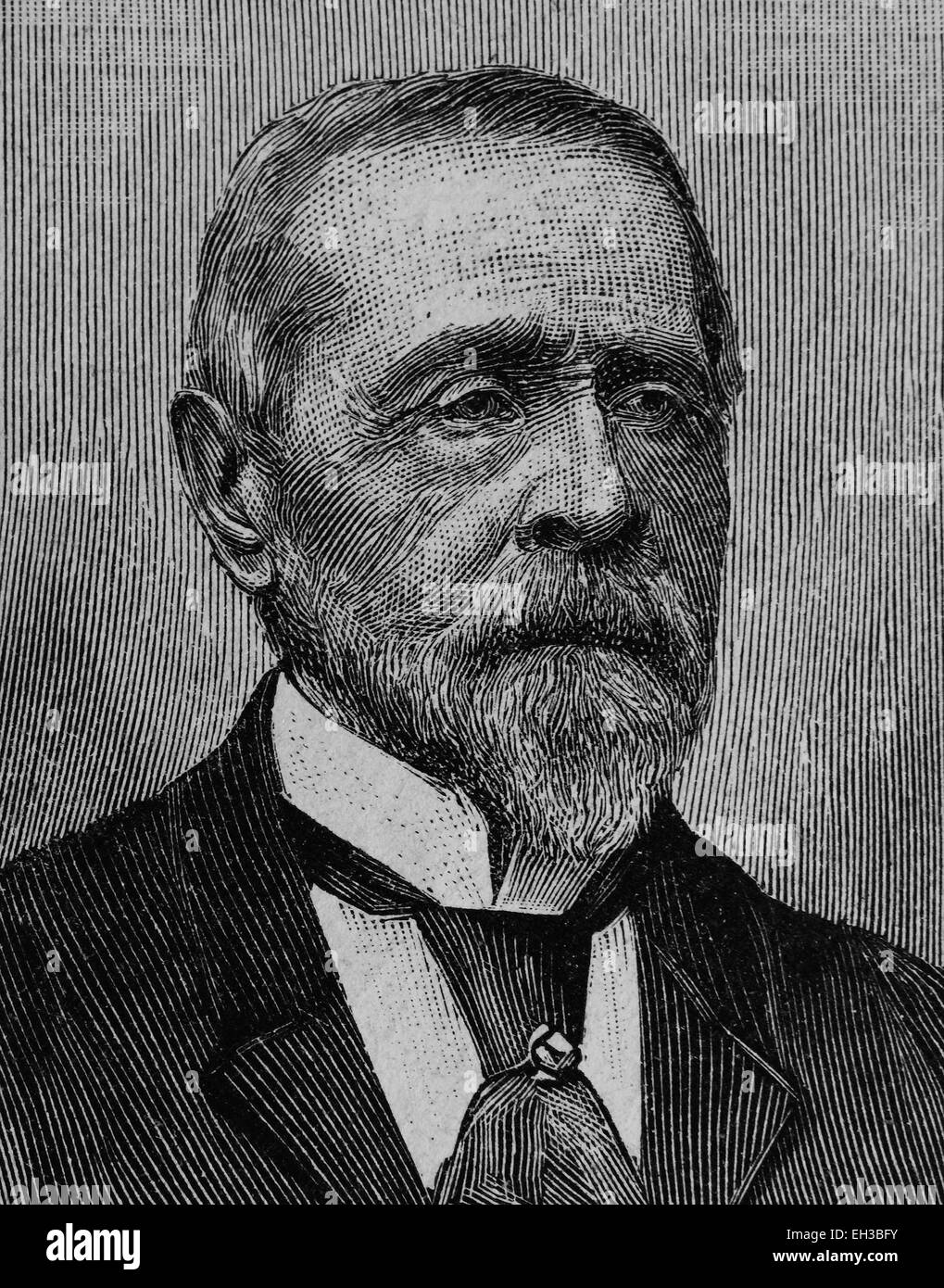 Moritz Edler von Mayfeld, 1817-1904, member of Frankfurt Parliament, wood engraving, about 1880 - Stock Image