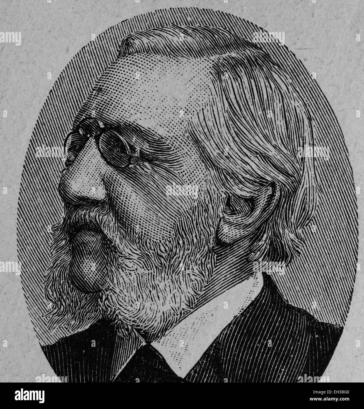 Carl Stremayr, 1823 - 1904, member of the Frankfurt Parliament, wood engraving, about 1880 - Stock Image