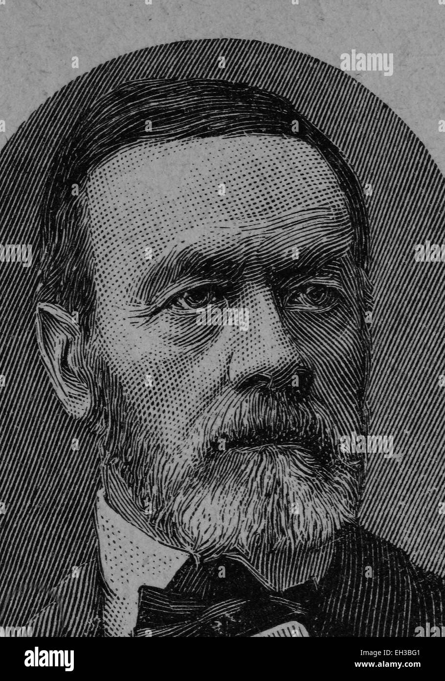 August Prinzinger, 1811 - 1899, member of the Frankfurt Parliament, wood engraving, about 1880 - Stock Image