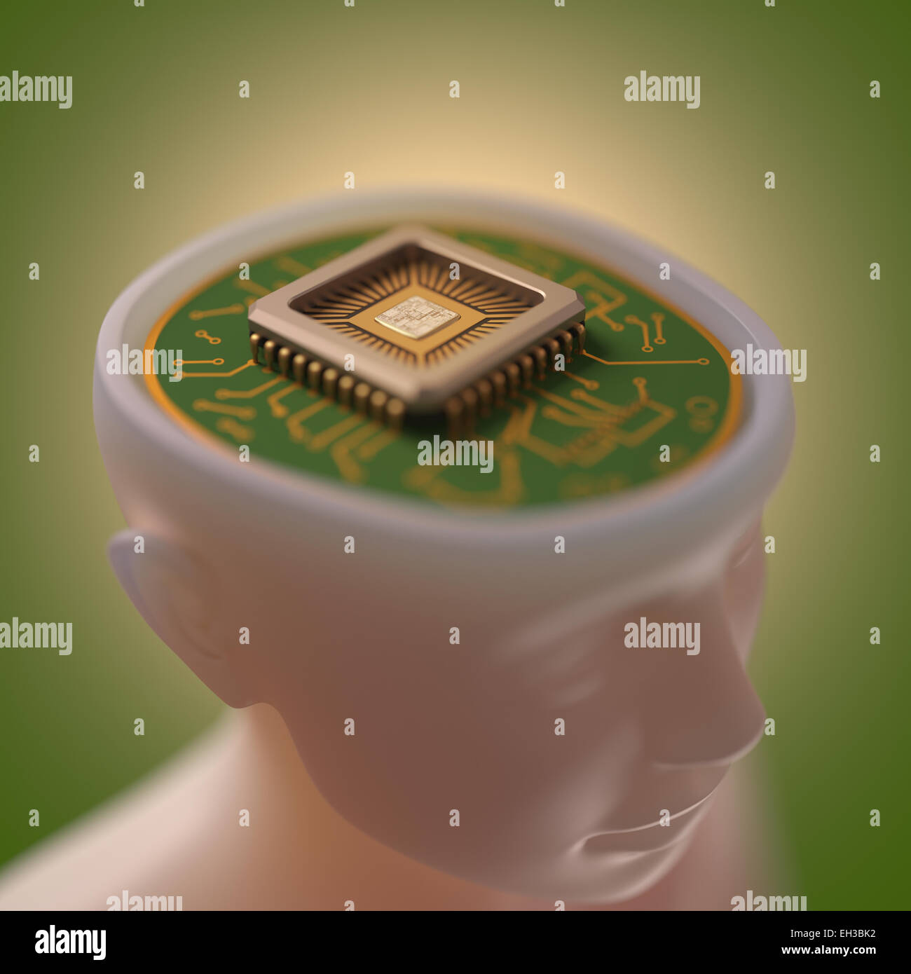 Microprocessor in the head. Concept of science and technology. - Stock Image