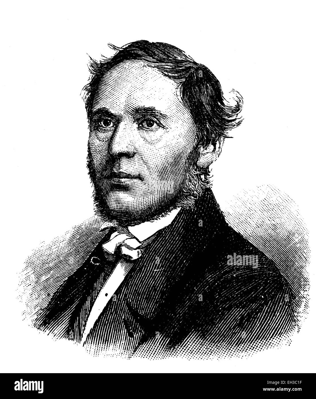 Franz Sylvester Jordan, 1792 - 1861, German jurist and politician, wood engraving, around 1880 - Stock Image