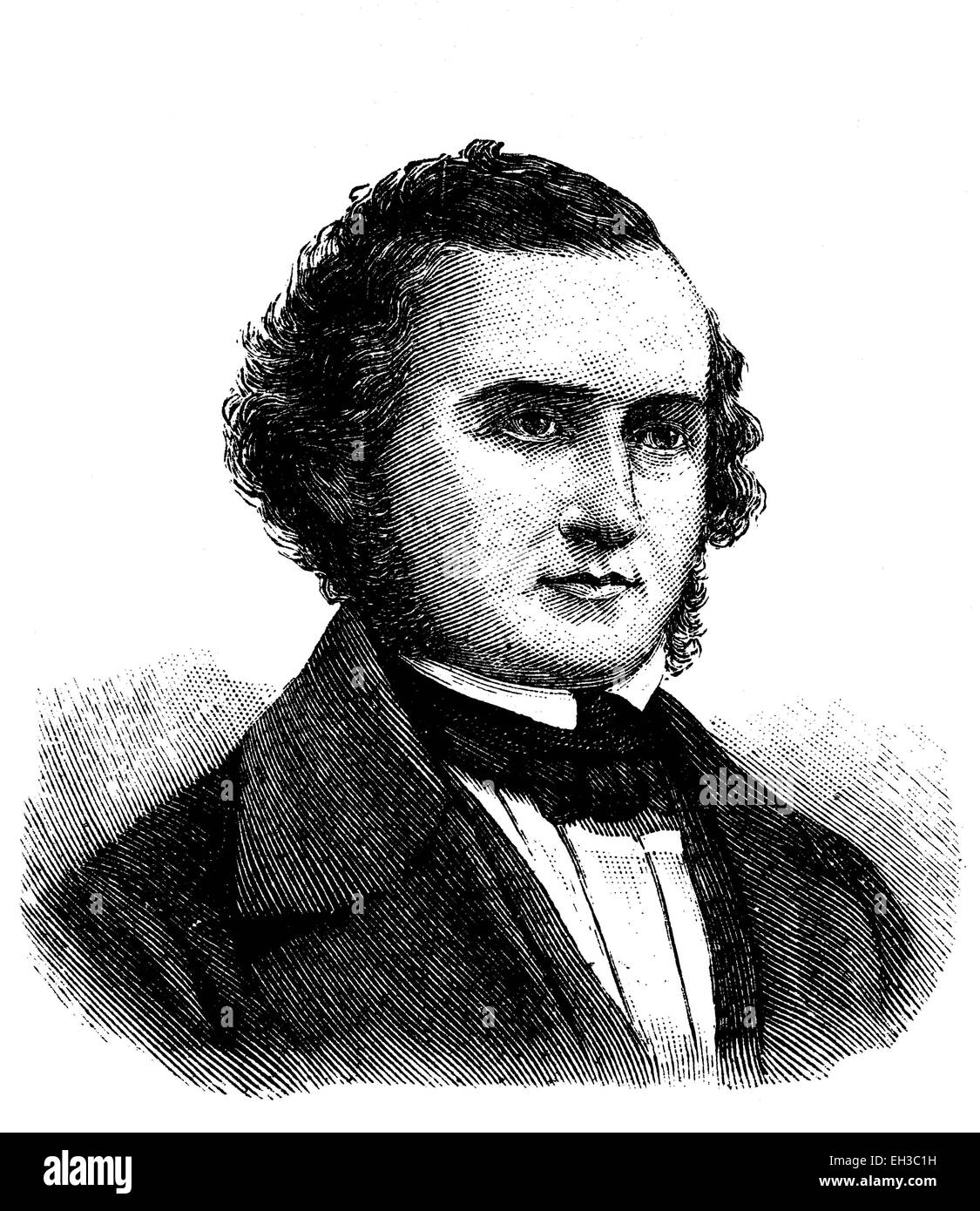 Carl Gotthelf Todt or Carl Gottlob Todt, 1803 - 1852, German jurist and politician, wood engraving, around 1880 - Stock Image