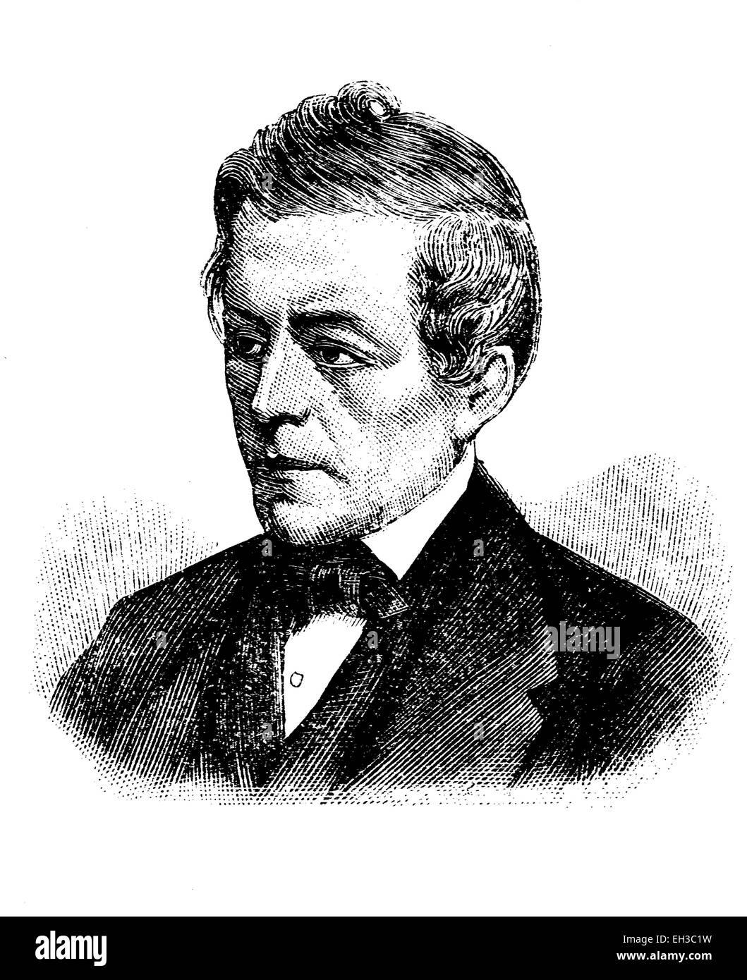 David Friedrich Strauss, 1808-1874, German writer, philosopher and theologian, historic woodcut, c. 1880 - Stock Image