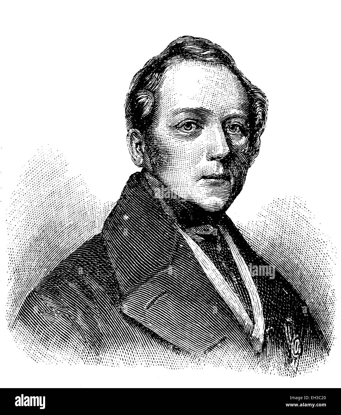 Leopold von Baden, 1790-1852, Grand Duke of Baden from 1830 until his death, historic woodcut, c. 1880 - Stock Image