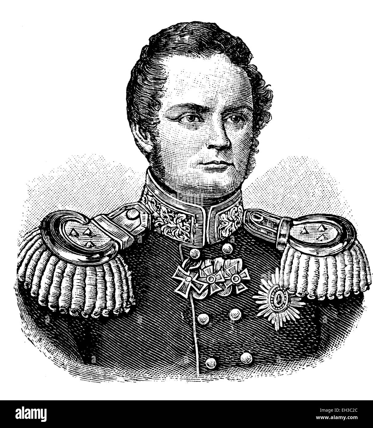 Friedrich Wilhelm IV, Frederick William IV of Prussia, 1795-1861, King of Prussia, historic woodcut, c. 1880 - Stock Image
