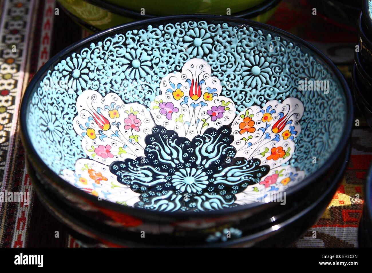 Close up of Turkish ceramic bowls at Turkish Festival in Melbourne Australia - Stock Image & Turkish Ceramic Plates Stock Photos u0026 Turkish Ceramic Plates Stock ...