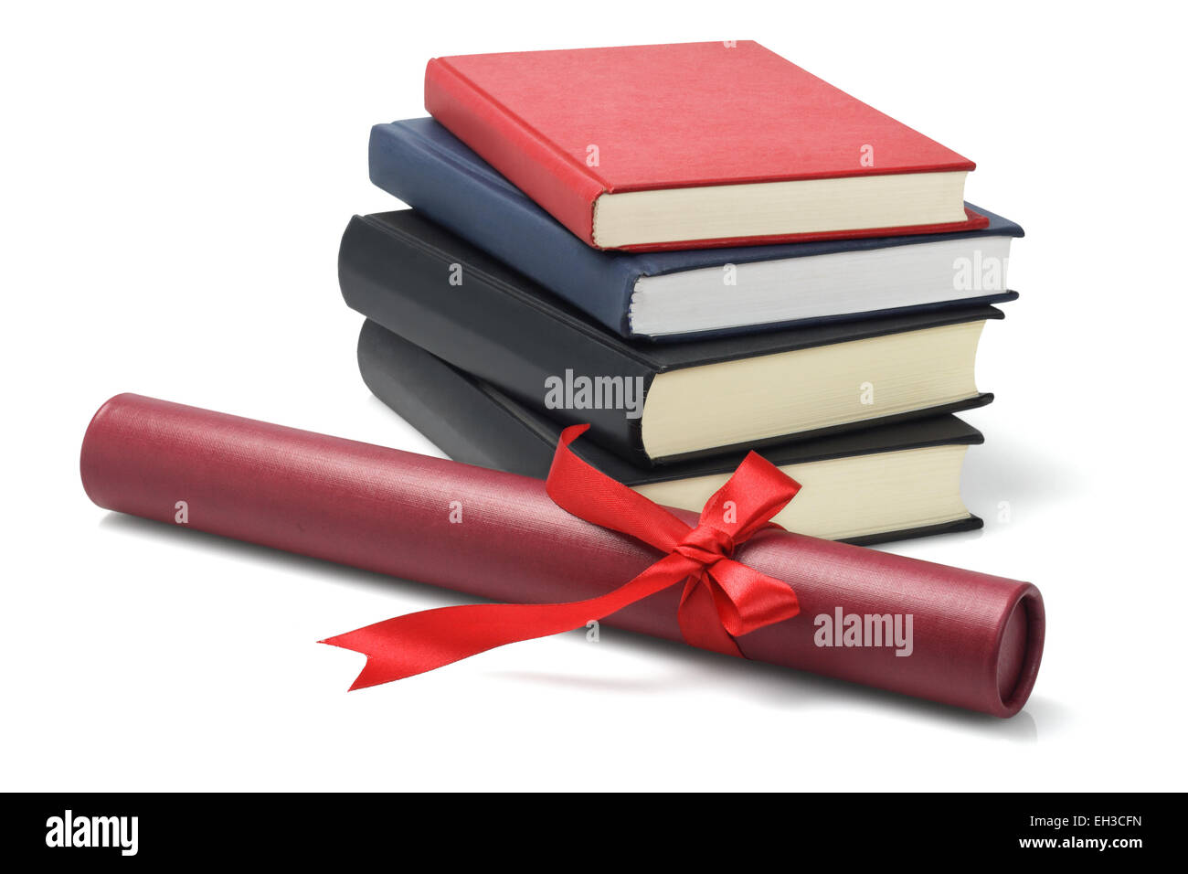 Stack Of Text Books And Graduation Scroll Container On White Background - Stock Image