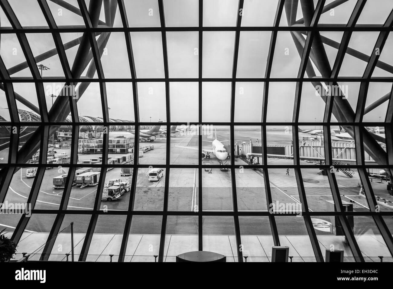 Airport Terminal Suvarnabhumi Airport - Samut Prakan, Thailand Stock Photo