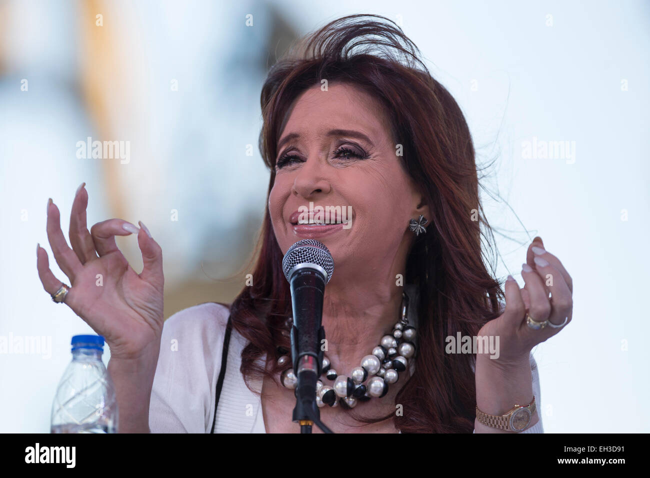 Buenos Aires. 5th Mar, 2015. Argentine President Cristina Fernandez attends the handover ceremony of the first batch - Stock Image