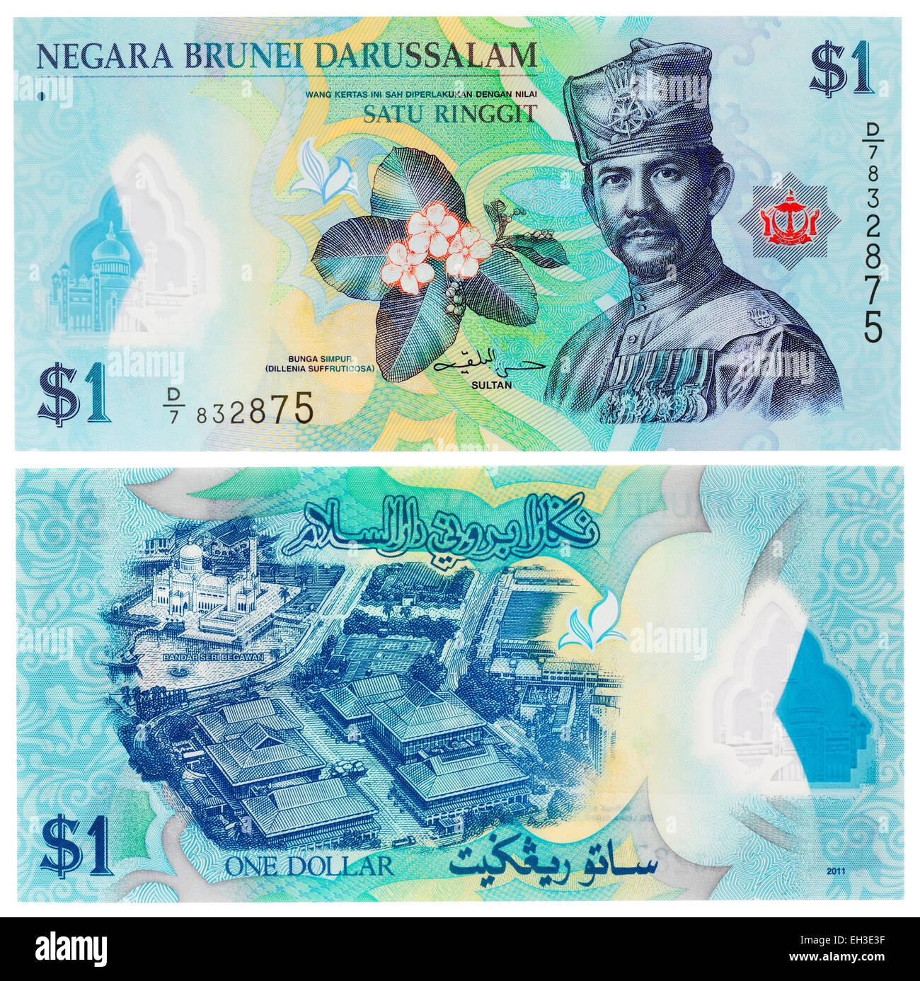 1 ringgit banknote, Sultan Hassanal Bolkiah, Brunei, 2011 - Stock Image